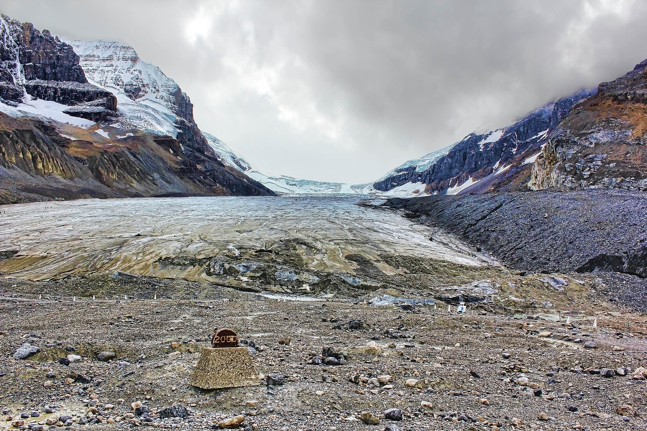 The marker in the foreground indicates where the glacier was in 2000.