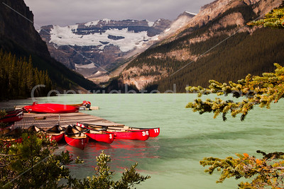 Lake Louise with canoes