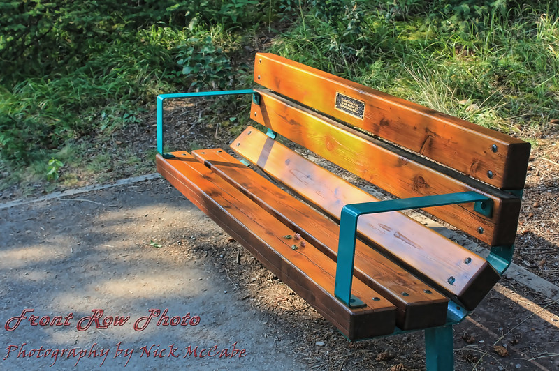 Really! A park bench with a dedication plaque, not carved initials, and flowers not graffiti on it. Nice!<br /> (No, I didn't put the flowers there.)