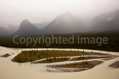 Athabasca River in the rain