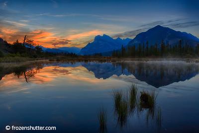 Misty Morning Sunrise - Vermillion Lakes in Banff National Park
