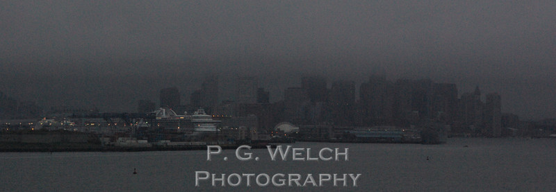 Pulling into Boston Harbor. It looks like it is going to be a dreary day.