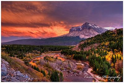Last light. Sunset at Glacier National Park.