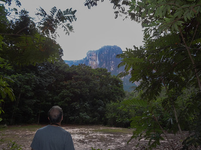 Andres looking at Angel Falls from our camp.  Yay - we made it!