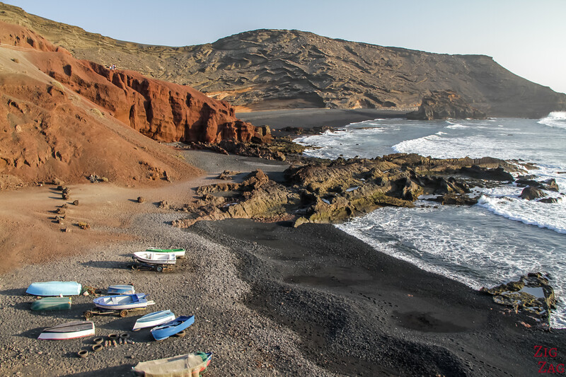 Charco de los Clicos - cove with black sand beach and boats