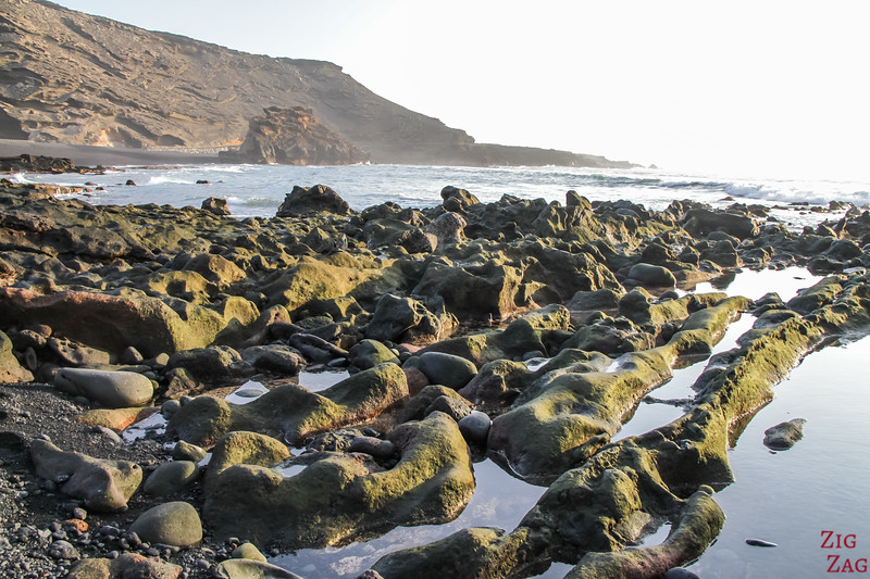 Charco de los Clicos - cove with black sand beach and rock formations 2