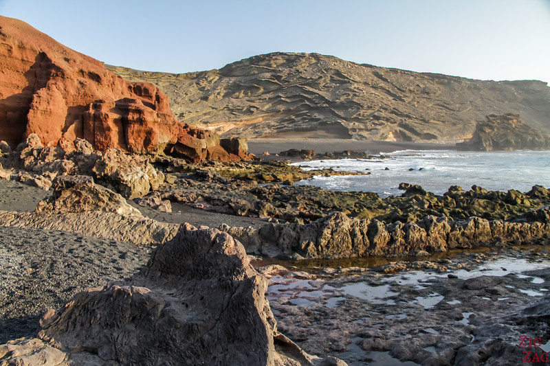 Charco de los Clicos - cove with black sand beach and rock formations