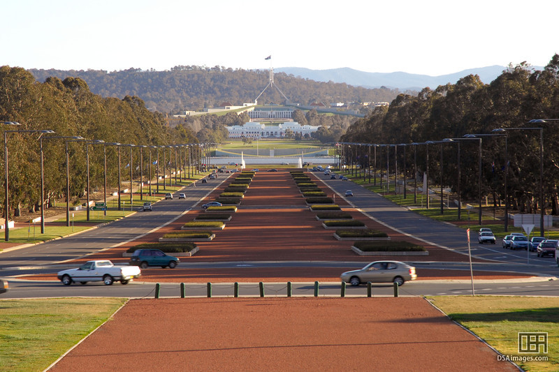 Looking down ANZAC Parade from the Australian War Memorial toward Parliament House
