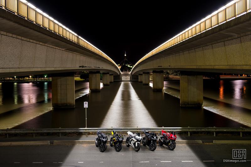 Motorbikes under Commonwealth Ave bridge