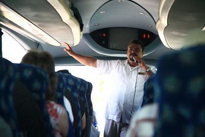 Victor, our guide on the trip to Chichén Itzá, makes the long ride entertaining.