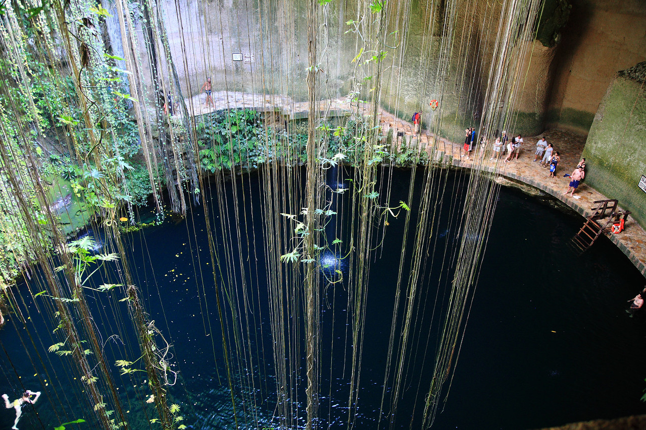 A cenote, or sink hole. The Yucatán Peninsula has no surface rivers or lakes -- everything runs underground.
