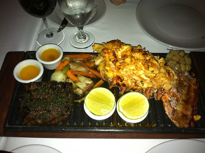 Filet and jumbo lobster tail at La Capilla Argentine steak house - JW Marriott.