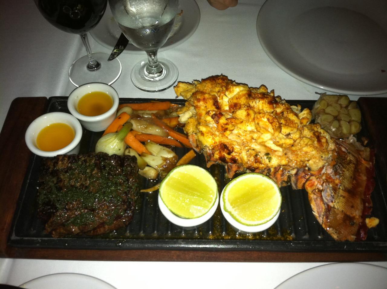 Filet and jumbo lobster tail at La Capilla Argentine steak house - JW Marriott.