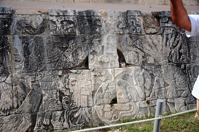 Inscriptions on the ball court at Chichén Itzá, depicting the team captain of the winning team having his head confiscated for a sacrifice. I'd throw the game if I were him.