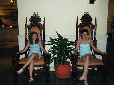 Fancy chairs in the resort lobby.