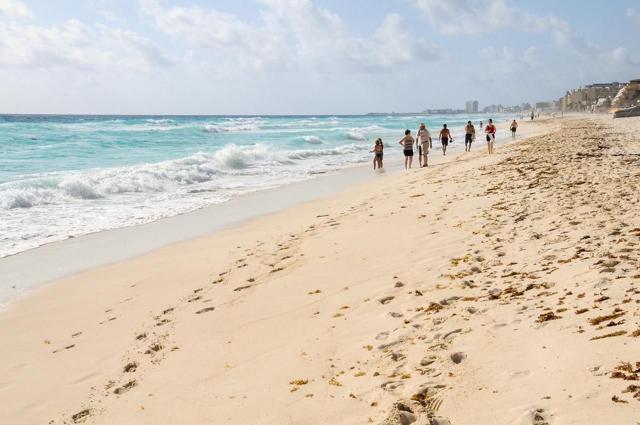 Along the beach in Cancun, Mexico - November 2011