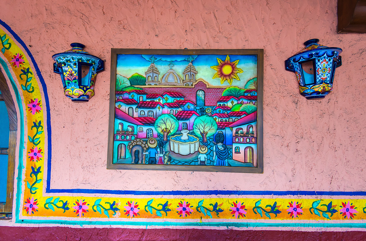 Restaurant wall in Cancun, Mexico - December 2015
