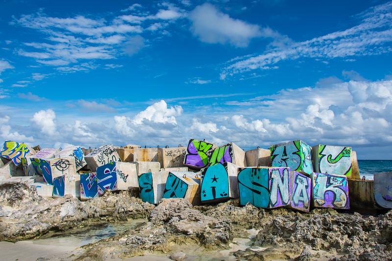 Breakwall in Cancun, Mexico - December 2015