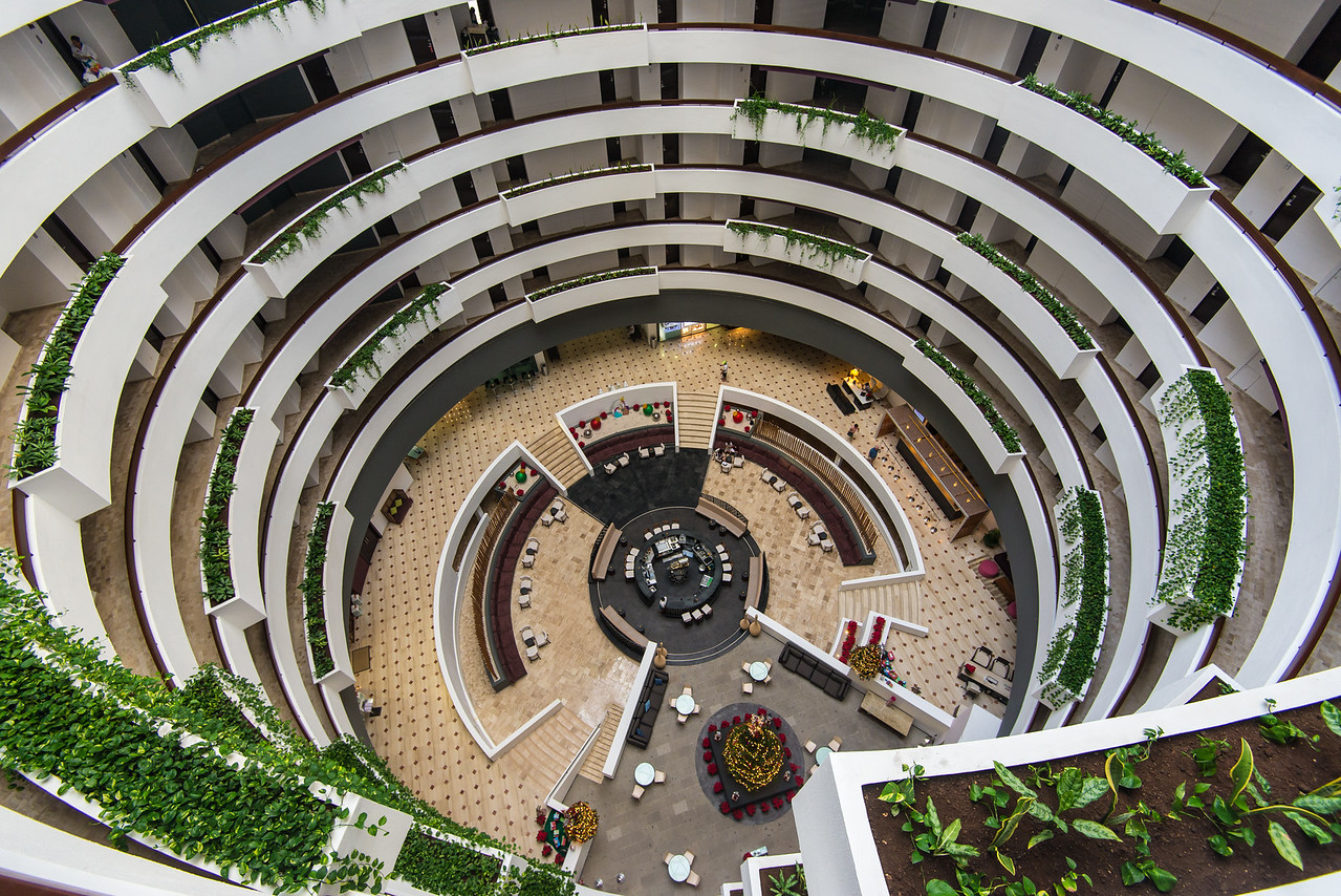 View of lobby from 8th floor in Krystal Grand Resort, Cancun, Mexico - December 2015