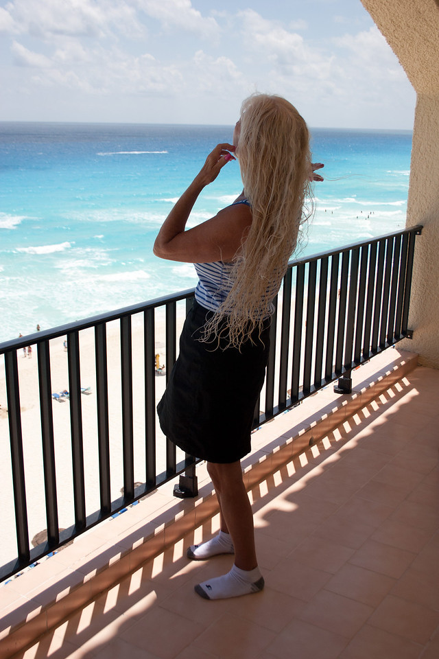 Great hair drying location for Carole from our penthouse suite at the Royal Caribbean in Cancun.