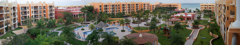 Panorama of courtyard stitched from 6 photos of Royal Hacienda courtyard from our patio.