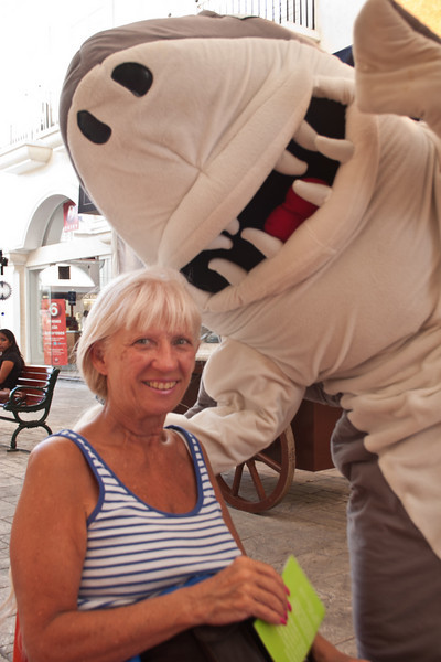 Carole was attacked by a shark in Isla shopping center. Lucky it was a land shark.