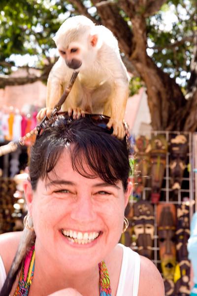 Monkey & Jodi. Watch the progression of pix as Jodi realizes the monkey is peeing on her.