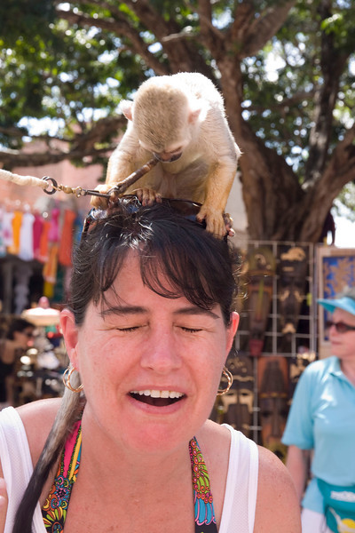 Monkey & Jodi as Jodi realizes that's urine trickling down her head.
