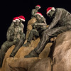 Santa's Hats adorn Cannery Row Monument