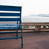 Cahracteristic blue chair on walkway of la Croisette, Cannes, Cote d'Azur.