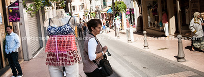 Street scene, Antibes, manekin displayng womens clothes.