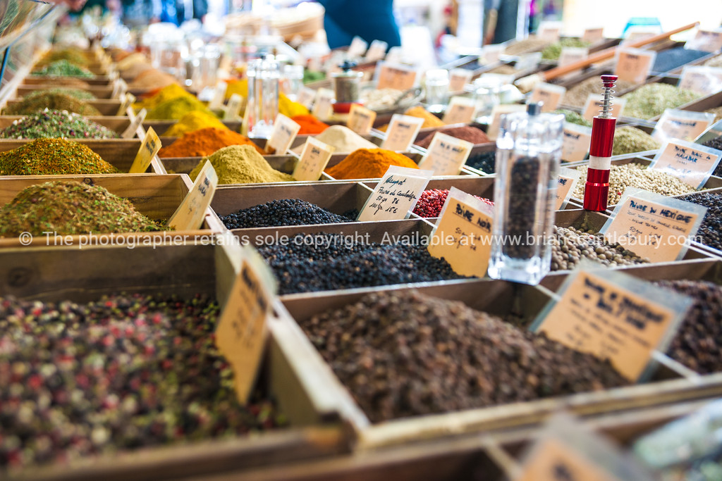 Spices and herbs  at Antibes markets, Cote d'Azur.<br /> Marche Provencale. Cote d'Azur.