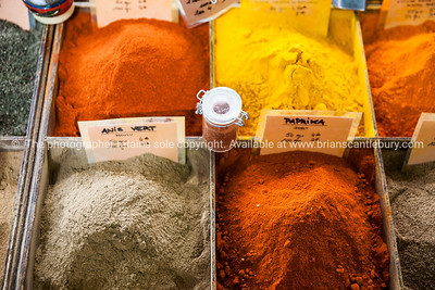 Colourful Spices and herbs  at Antibes markets, Cote d'Azur. Marche Provencale. Cote d'Azur.