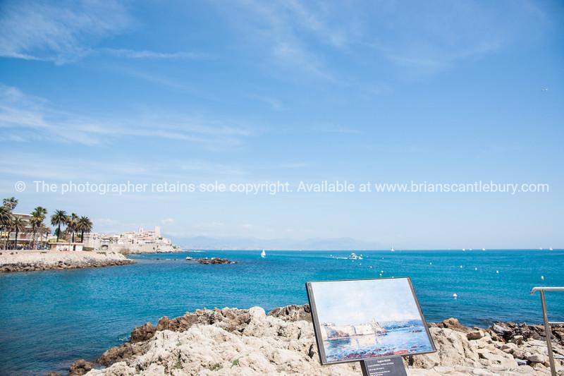 Azure Mediterranean Sea, from foreshore, Antibes.