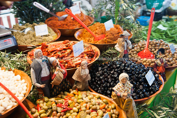 Olive, beans and other antipasto at Antibes markets, Cote d'Azur.<br /> Marche Provencale.