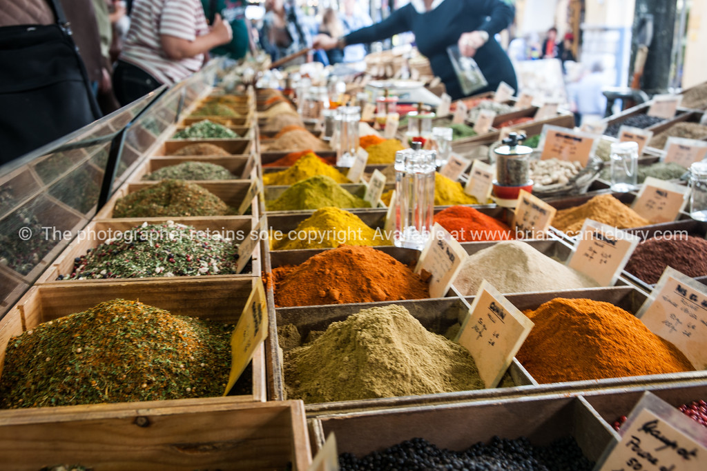 Colourful Spices and herbs  at Antibes markets, Cote d'Azur.<br /> Marche Provencale. Cote d'Azur.