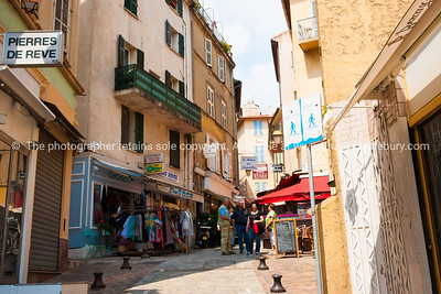 Rue St Antoine, A traditional street of shops and cafe's, Cannes, Cote d'Azur.
