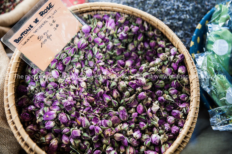 Rose buds (bouton de rose) Spices and herbs  at Antibes markets, Cote d'Azur.