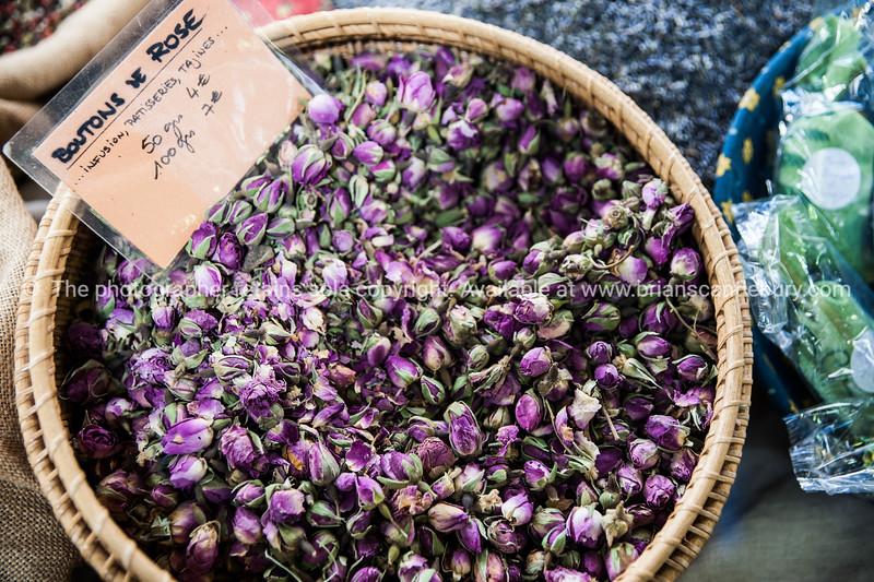 Rose buds (bouton de rose) Spices and herbs  at Antibes markets, Cote d'Azur.<br /> Marche Provencale. Cote d'Azur.