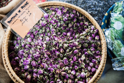 Rose buds (bouton de rose) Spices and herbs  at Antibes markets, Cote d'Azur. Marche Provencale. Cote d'Azur.