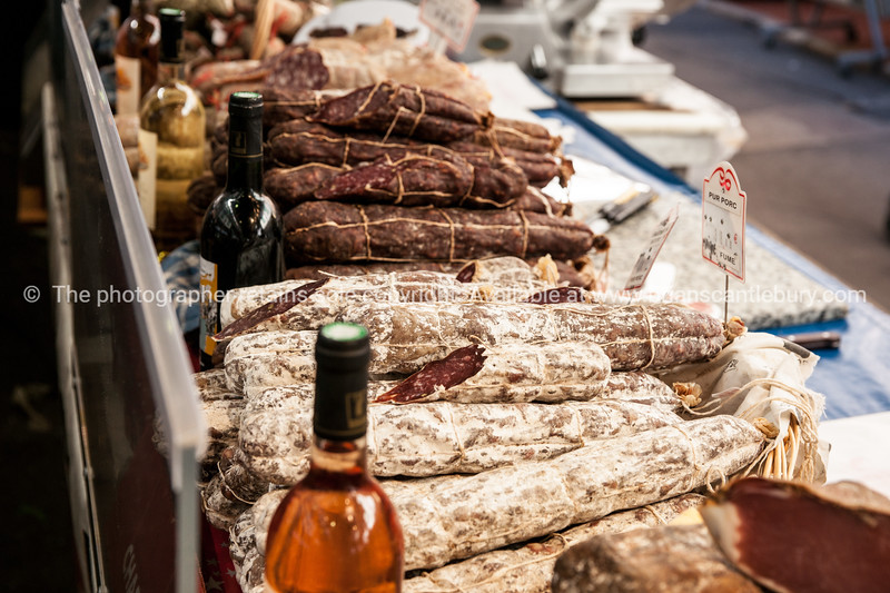 Dried meats and small goods  at Antibes markets, Cote d'Azur.<br /> Marche Provencale. Cote d'Azur.