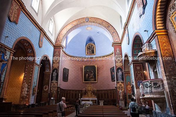 Gordes, interior of historic and ornate church.Rebuilt in the XVIIIth century, consecrated to Notre Dame.