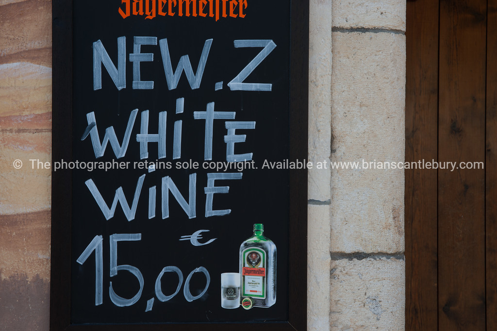 New Zealand wine sign in Antibes, Cote d'Azur.