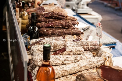 Dried meats and small goods  at Antibes markets, Cote d'Azur. Marche Provencale. Cote d'Azur.