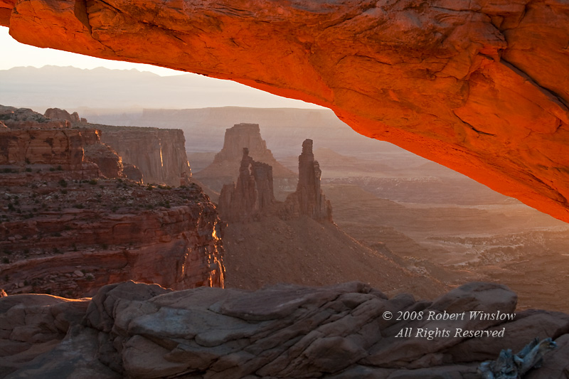 Washer Woman Arch seen through Mesa Arch, Morning, Canyonlands National Park, Utah, USA, North America
