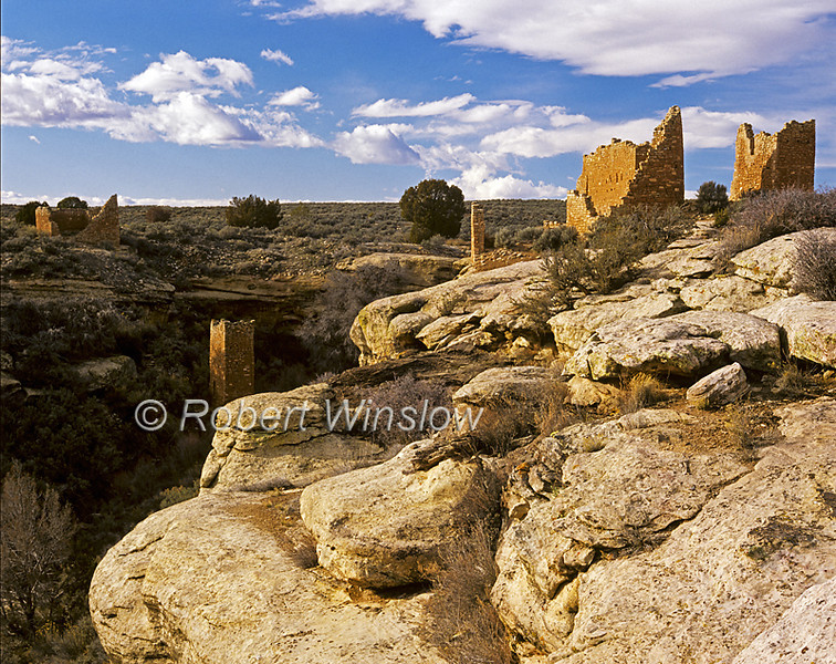 Hovenweep Castle, Square Tower and Hovenweep House, Hovenweep National Monument, Colorado/Utah, USA,  Prehistoric Puebloan-era Village,  Medium Format Transparency