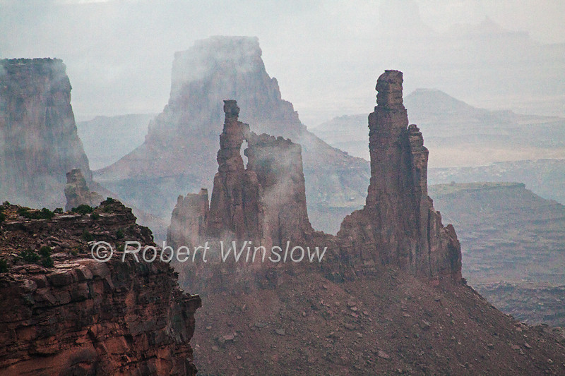 Washer Woman Arch Misty Morning, Canyonlands National Park, Utah, USA, North America