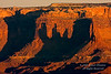 Canyon Wall at Sunrise, Shadow of Washer Woman Arch, Canyonlands National Park, Utah, USA, North America