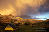Tent, Rainbow, Sunset, Upper Salt Creek Canyon, The Needles District, Canyonlands National Park, Utah, USA, North America