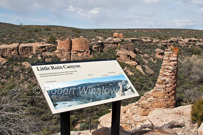 Little Ruin Canyon, Sign, Hovenweep National Monument, Colorado/Utah, USA, Prehistoric Puebloan-era Village